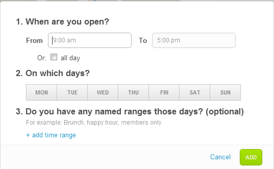 foursquare's venue business hours screen